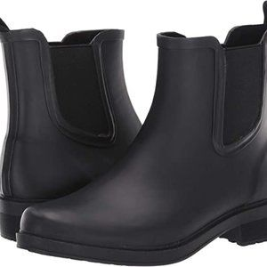 J crew black rain boots size 6
